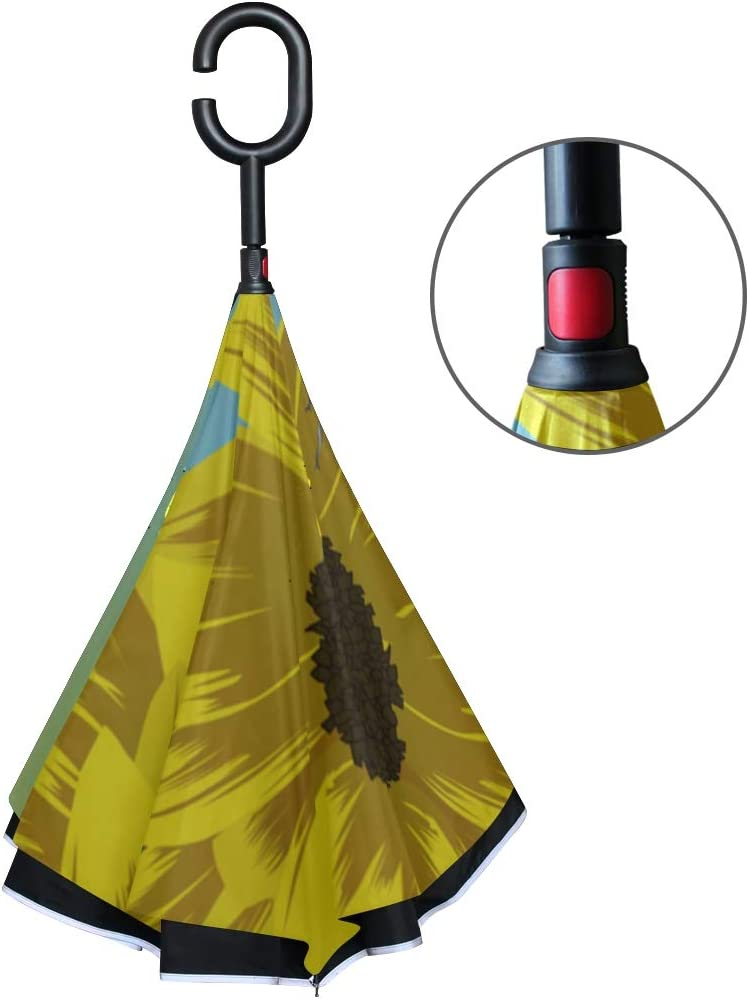 Double Layer Inverted Inverted Umbrella Is Light And Sturdy Yellow Sunflowers Blue Reverse Umbrella And Windproof Umbrella Edge Night Reflection