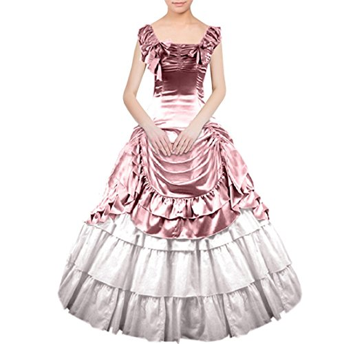 Partiss Women Bowknot Gothic Victorian Lolita Dress, XS, Pink (Female Costumes For Comic Con)