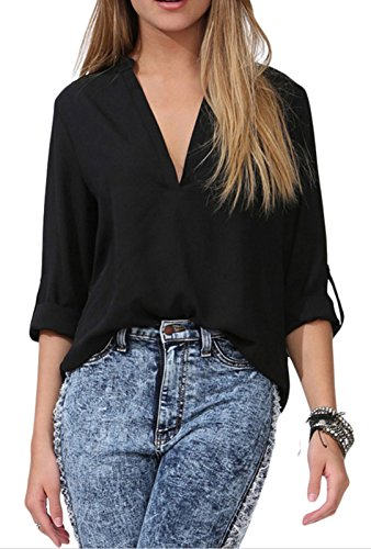 Yonas Women's Chiffon Shirt Cuffed Sleeve V Neck Blouse Tank Top(SIZE S/BLACK) - Black Silk Chiffon Pleat Skirt