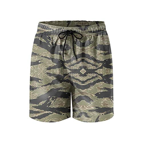 HOTZX Men Core Printed Adjustable Swimming Trunks Short-Tiger Stripe camo Style Beach Shorts