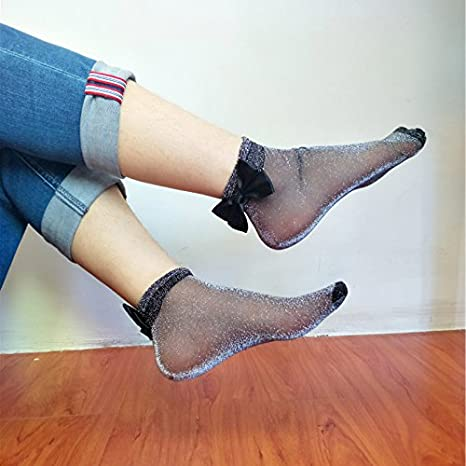 Smartrich 1/coppia brillante seta Crystal Thin Bowknot calzini corti donne caviglia calzini morbidi Heap nero Nero 1*1*1cm