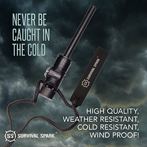 Ralix Survival Spark Magnesium Survival Fire Starter with Compass and Whistle