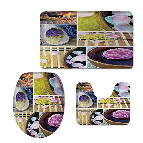 U-shaped Double Bowl - iPrint Fashion 3D Baseball Printed,Spa,Spa Organic Cosmetics Theme Wooden Bowl Petals Lavender Candle Pebbles Therapy Oil,Purple Brown,U-Shaped Toilet Mat+Area Rug+Toilet Lid Covers 3PCS/Set