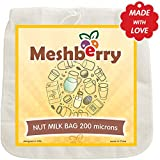 Meshberry Nut Milk Bag - Food Strainer and Cheesecloth - Almond Milk, Juice, Cottage Cheese, Greek Yogurt Maker - Reusable & Durable Bag - Fine Mesh Nylon - size 12x12 200 Micron