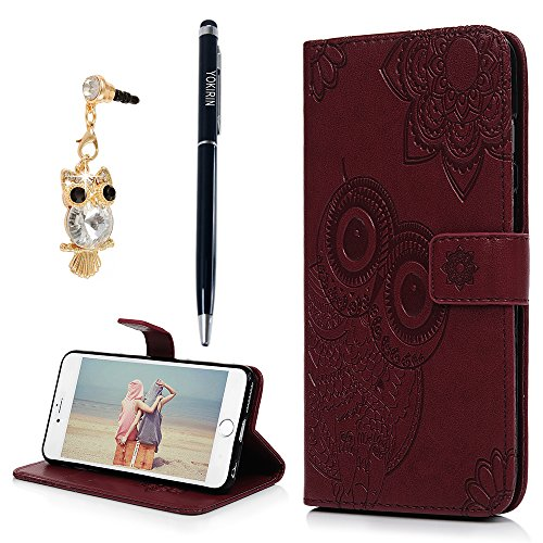 iPhone 6 Plus Case, iPhone 6S Plus Case, YOKIRIN Cute Owl Emboss PU Leather TPU Inner Magnetic Flip Kickstand Wallet Case Hand Strap Card Cash Slots Skin Cover with Dust Plug & Stylus, Wine Red