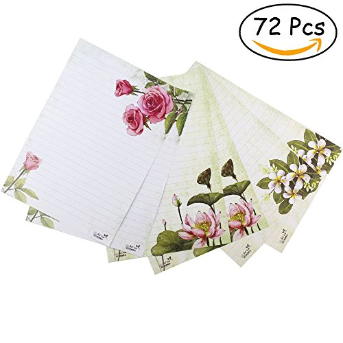 Bolbove 72 Pcs Lovely Plant Flower Theme Letter Writing Stationery Paper Lined Sheets 3 Patterns (White) (Halloween Writing For Kindergarten)