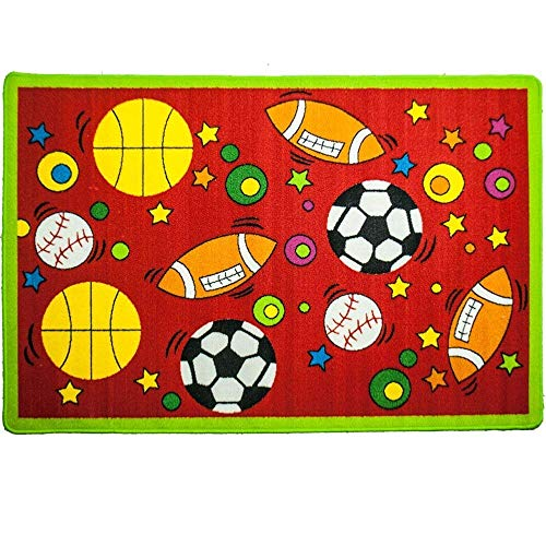 MYBECCA's Sports Theme Kids Rug SPORTS RED Area Rug with Lime Green Borders 3'3