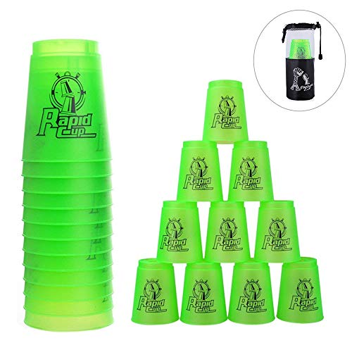 Quick Stacks Cups 12 Pack of Sports Stacking Cups Speed Training Game Challenge Competition Party Toy with Carry Bag(Green)