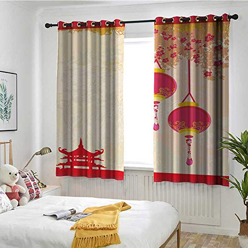 MaryMunger Lantern Waterproof Window Curtains Japanese Inspired Celebration Image with Lovely Colors Old Paper Theme Insulated with Grommet Curtains for Bedroom W 63