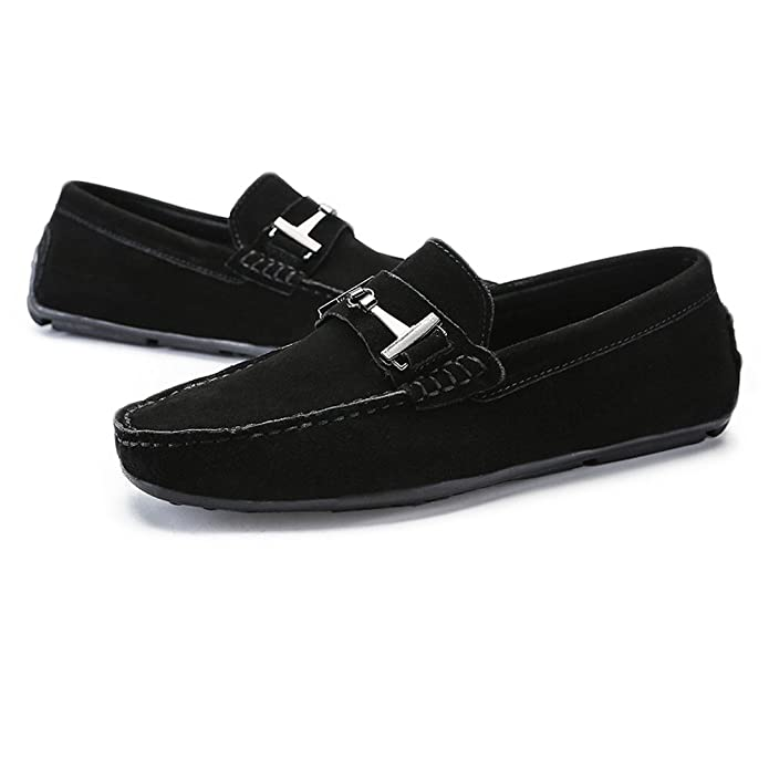 Amazon.com | Elegdy Mens Driving Loafers Suede Genuine Leather Penny Moccasins Studs Sole with Metal Button Decor | Loafers & Slip-Ons