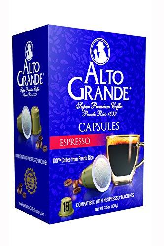 Alto Grande Espresso Super Premium Puerto Rico Coffee Capsules for Nespresso Machine (1 Box of 18 Capsules) (Grande Kitchen)