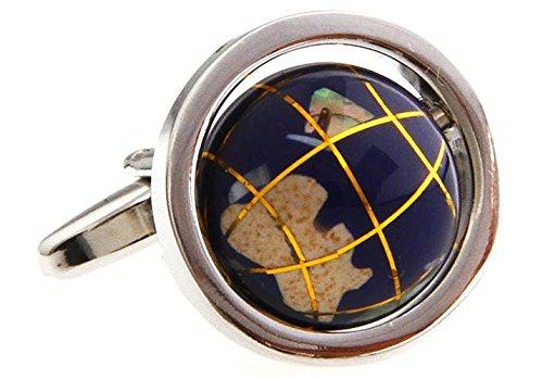 (Personalized Cuff-links Shirt Cufflinks Novelty Mens Cufflinks Rotatable Globe Cufflinks Good Gift for Geography Lover--Dark Blue )