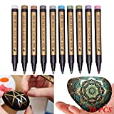 MaxFox 2PC 8151 Metallic Water Color Ink Markers Paints Pens Art Glass Painting,Note Writing Markers for DIY Card Making (Random)