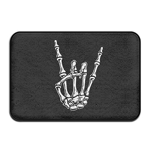 (Metal Skull Rock Hand Soft Comfort Flannel Indoor Mats Rugs,Anti-Skid Multi-Use Doormat Super Absorbent Bathroom Mat Toilet,Kitchen Floor Mats Washable Home Decor)