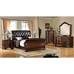 5 Pc. South Yorkshire Deep Brown Cherry Wood Finish Queen Sleigh Bed Set