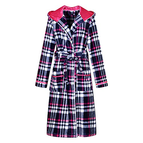 (Richie House Women's Plaid Fleece Bathrobe Robe RHW2714-A-S)