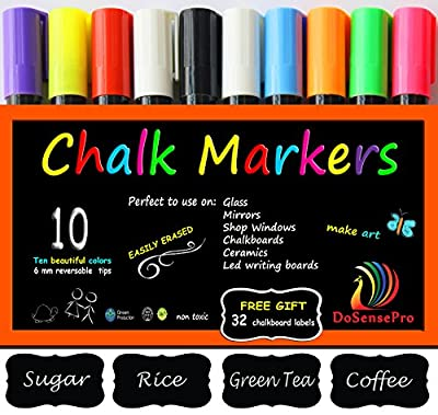 Chalk Markers DoSensePro 10 Best Quality Colors Including 2 White Liquid Marker Pens + Free 32 Chalkboard Labels, Child Friendly, Interior Design, Restaurant Chalkboards, Weddings Party Decorations