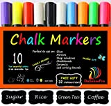 Chalk Markers DoSensePro 10 Quality Colors Including 2 White Chalkboard Markers + Free 32 Chalkboard Labels, Perfect for Restaurants, Office, Home, Art, Weddings Party Decorations, Get Yours Now