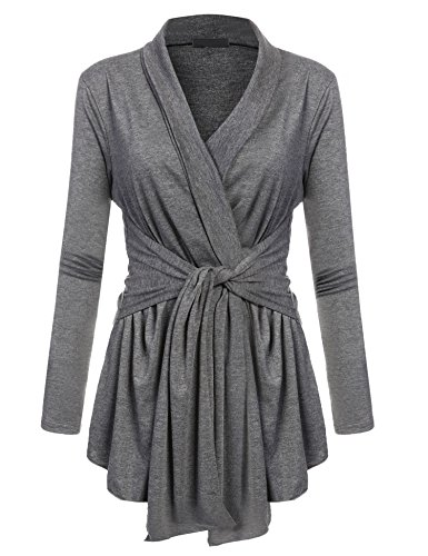 Pagacat Women's Solid Color Sweater Stretch Long Sleeve Open Front Cardigans (Dark Gray, Small)