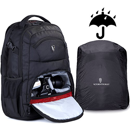 Victoriatourist V6022 Laptop Backpack for SLR Camera and 15 Inch Laptops with Waterproof Rain Cover, Black by Victoriatourist