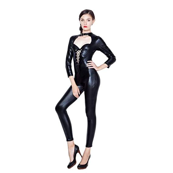 HGUIAZ Mujer Sexy Catsuit Catwoman Disfraz Patentar Cuero ...