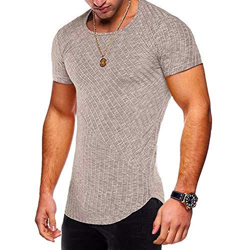 Men Short Sleeve Cotton Shirt Stretch Stripe Curved Hem Slim Hipster Tops Khaki9 M