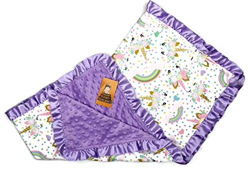 (Dear Baby Gear Baby Blankets, Glitter Unicorn Pastel Rainbows, Lavender Minky, 32 Inches by 32 Inches)