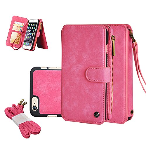 Iphone 6/6s plus Wallet Case, 5.5' CORNMI Outdoor Detachable Leather Flip Case Folio Stand Coin Purse Card Slot Pocket Wallet for Iphone 6/6s Plus(Pink)