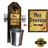 Deluxe Mas Cerveza Shot Glass Holder with 2 Shot Glasses, Bottle Opener and Cap Catcher - Handcrafted by a Vet - Wall mounted, Solid Pine, Rustic Bottle Opener and Sturdy Mini Galvanized Bucket