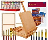 Artist Table Easel, Paints, Stretched Canvases, Brush Sets, Art Supplies for Acrylic Painting with Instruction Book