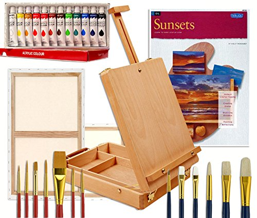 Artist Table Easel, Paints, Stretched Canvases, Brush Sets, Art Supplies for Acrylic Painting with Instruction Book by Online Art Supplies