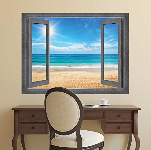 Open Window Creative Wall Decor View of the Ocean and the Sun at it's Highest Point Wall Mural