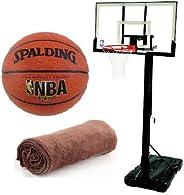 "Spalding NBA Hercules Vertical Pole Portable Basketball System - 52"" Acrylic Back"