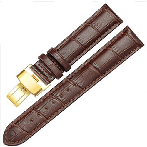 18-24mm New Genuine Leather Gold Quick Release Clasp Wrist Watch Bands Strap Replacement for Gents Mens (22mm, Brown & Brown Line)