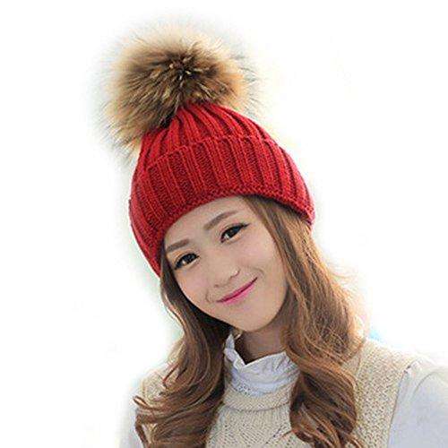 FURTALK Womens Girls Winter Fur Hat Real Large Raccoon Fur Pom Pom Beanie Winter Hats (red) (Hat Winter Pom Pom)