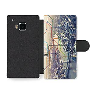 Cool City of London with Colourful Underground Map above Thames and Buildings Faux Leather case for HTC One M9