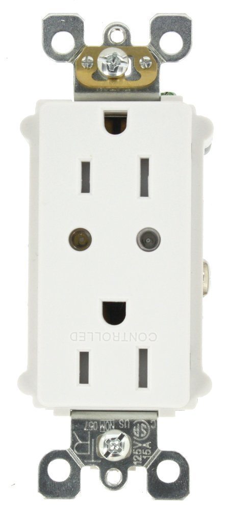 Leviton VRR15-1LZ Vizia RF + Split Duplex Tamper Resistant Scene Capable Receptacle, White/Ivory/Light Almond by Leviton