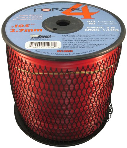 - Force 4 FF065S3-2 3-Pound Spool of .105-Inch Mid-Range Commercial-Grade Round Grass Trimmer Line, Red