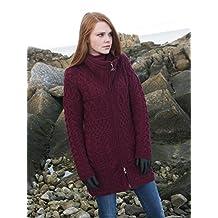 100% Merino Wool Aran Crafts Ladies Double Collar Coat Wine