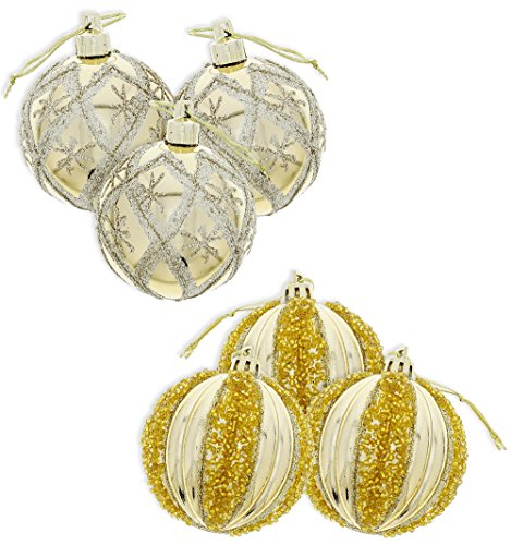 Elegant Holiday Christmas Glitter Shiny Shimmering Beaded & Glitter Accents Round Ball Ornaments, Gold, Medium, Set of 6, 3