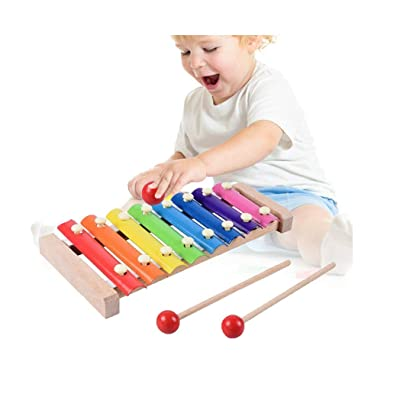 Kids Traditional Wooden Musical Toys Developmental Educational Cute 8 Tone Xylophone Instrument (One Size, Colorful): Toys & Games