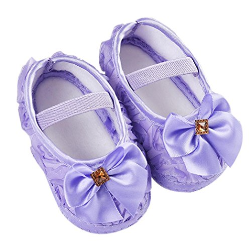 Newborn Walking Shoes,Kimanli Toddler Kid Baby Girl Rose Bowknot Elastic Band (0~6months, Purple)