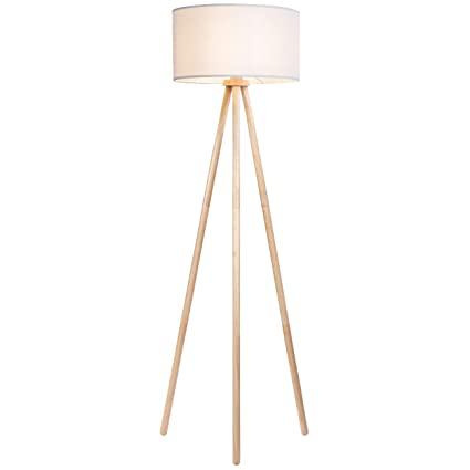 tomons Wood Frame Tripod Floor Lamp with White Cloth Lampshade and ...