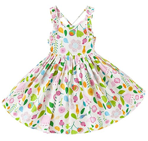 (Tonwod Little Girl Dress,Sleeveless Cotton Casual Summer Clothes Floral Sundress Straps Beach Skirt Suit for 1-10 Years Old Girls (3T, Light green-1702))
