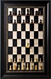 Rosewood Stallion chess pieces on vertical wall hung Black Maple Straight Up Chess board with the Dark Bronze frame