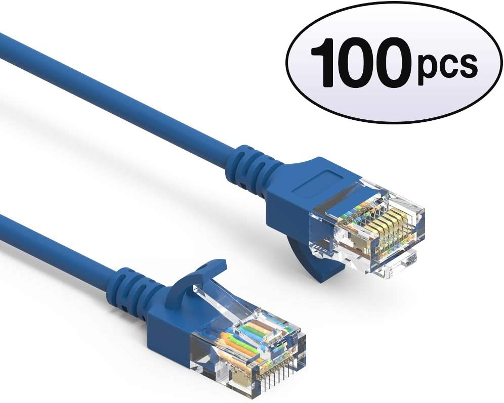 28AWG Network Cable with Gold Plated RJ45 Molded//Booted Connector 10 Gigabit//Sec High Speed LAN Internet//Patch Cable 550MHz 0.5 Feet - Blue GOWOS Cat6a Slim UTP Ethernet Cable