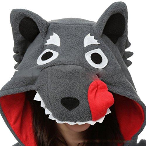 YARBAR Kigurumi Pijamas Unisexo Adulto Traje Disfraz de Halloween Cosplay Jumpsuit Animales Pyjamas Ropa De Dormir Lobo gris
