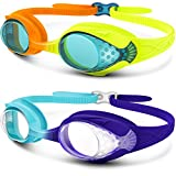 OutdoorMaster Kids Swimming Goggles - Fun Fish Style Swim Goggles for Children (Age 4-12) Leakproof Design, Shatterproof Anti-fog 100% UV Protection Lens & Quick Adjustable Strap - 2 pack Blue+Orange