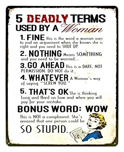 Fashionable 5 Deadly Terms Used by A Woman Funny Distressed Look Tin Collectible Retro Decorative Metal Tin Sign 8x12 inches (Five Deadly Terms Used By A Woman)