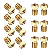 EAONE 14PCS M6 3D Printer 0.2mm 0.3mm 0.4mm 0.5mm 0.6mm 0.8mm 1.0mm Extruder Brass Nozzle Print Head for E3D Makerbot (2pcs/each size) by EAONE